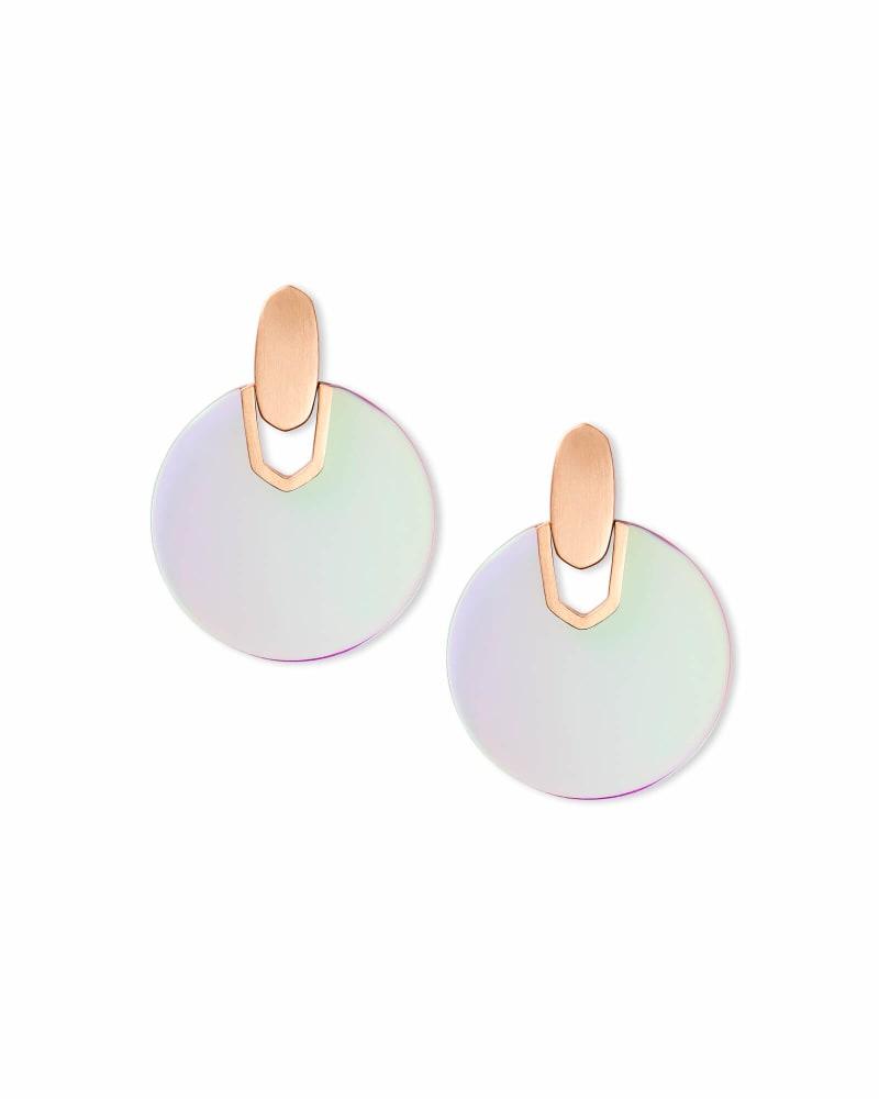 Didi Rose Gold Statement Earrings in Blush Dichroic Glass | Kendra Scott