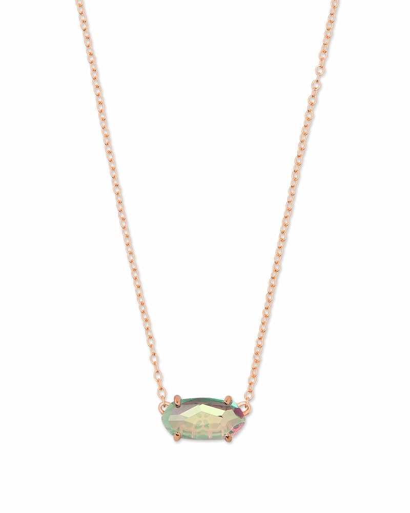 Ever Rose Gold Pendant Necklace in Blush Dichroic Glass