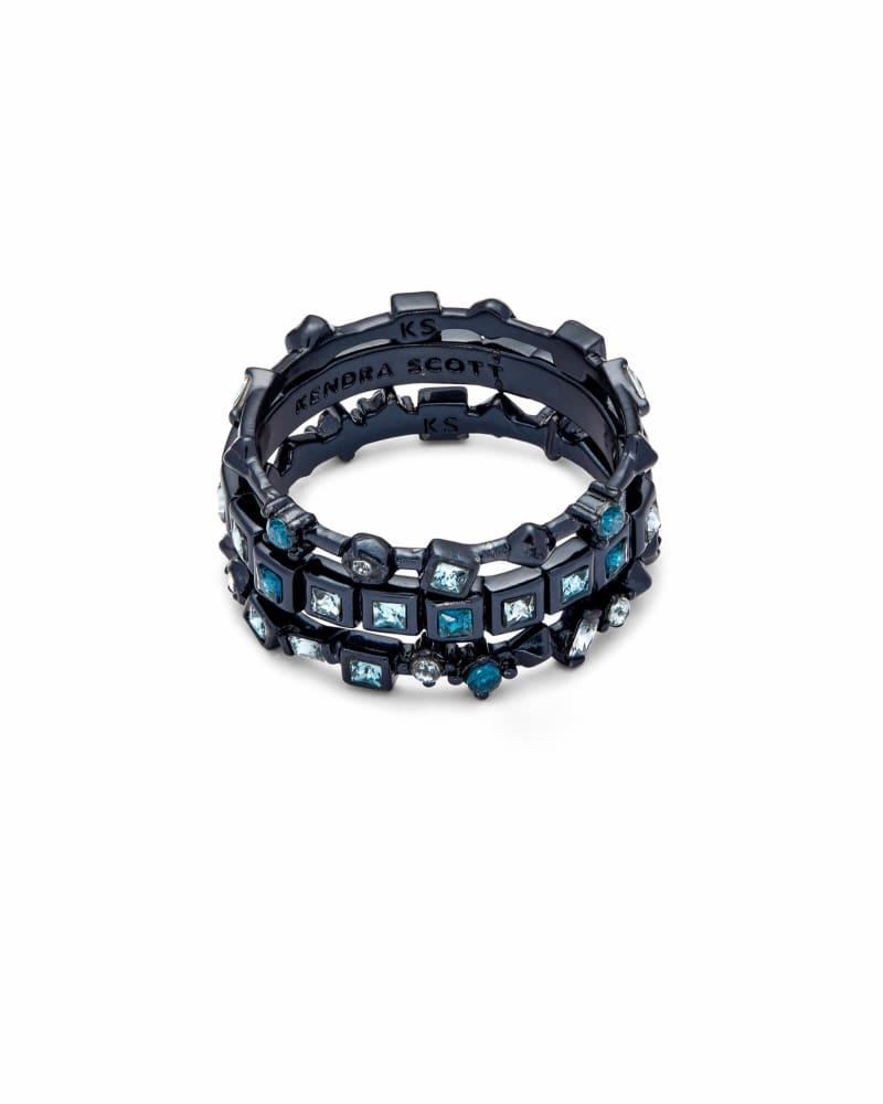 Karis Navy Gunmetal Stackable Ring Set in Indigo Mix