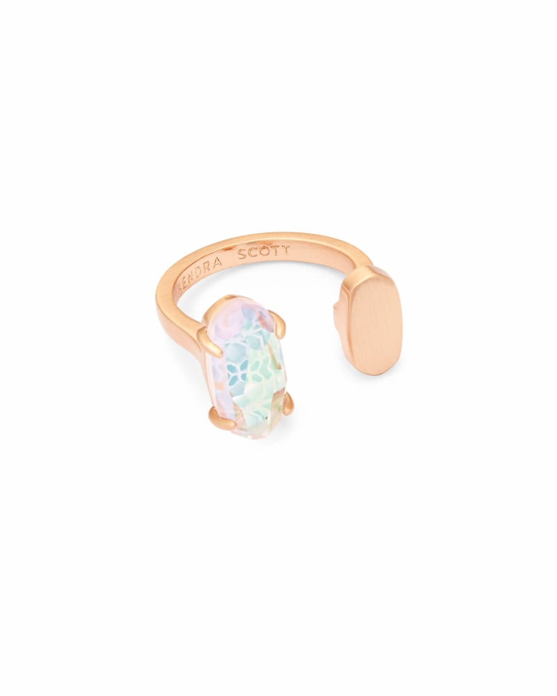 Pryde Rose Gold Open Ring in Blush Dichroic Glass