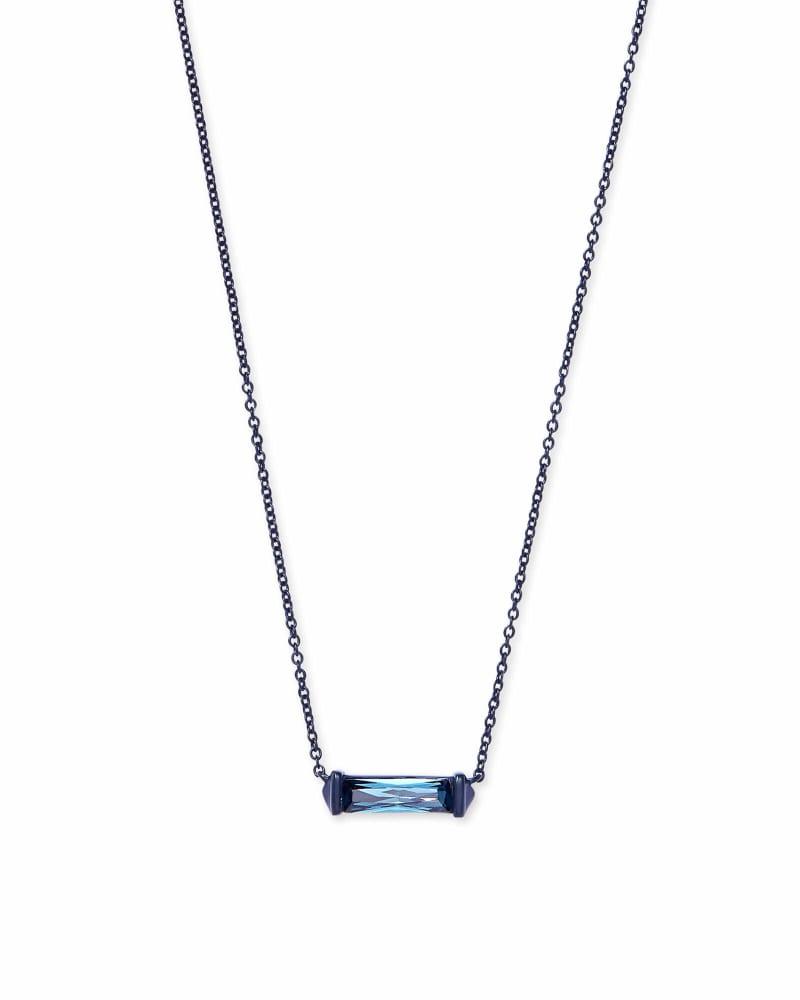 Rufus Navy Gunmetal Pendant Necklace in Indigo Crystal