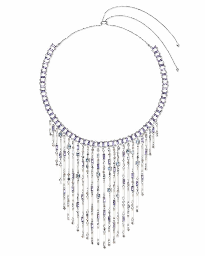 Maxen Silver Statement Necklace in Lilac Mix