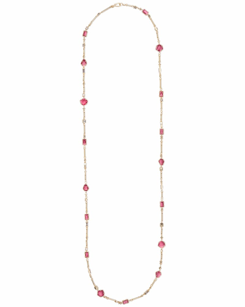 Yazmin Gold Long Necklace in Berry Mix