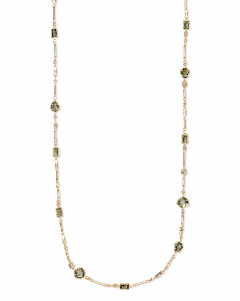 Yazmin Gold Long Necklace in Sage Mix