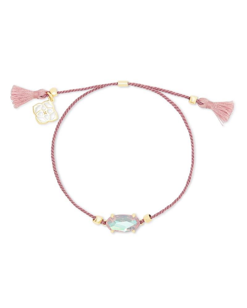 Everlyne Gold Friendship Bracelet in Blush Dichroic Glass