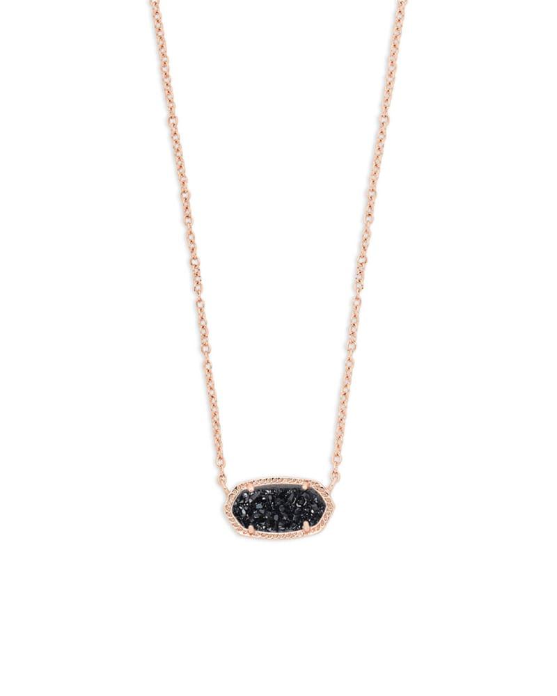 Elisa Rose Gold Pendant Necklace In Black Window Drusy Kendra Scott