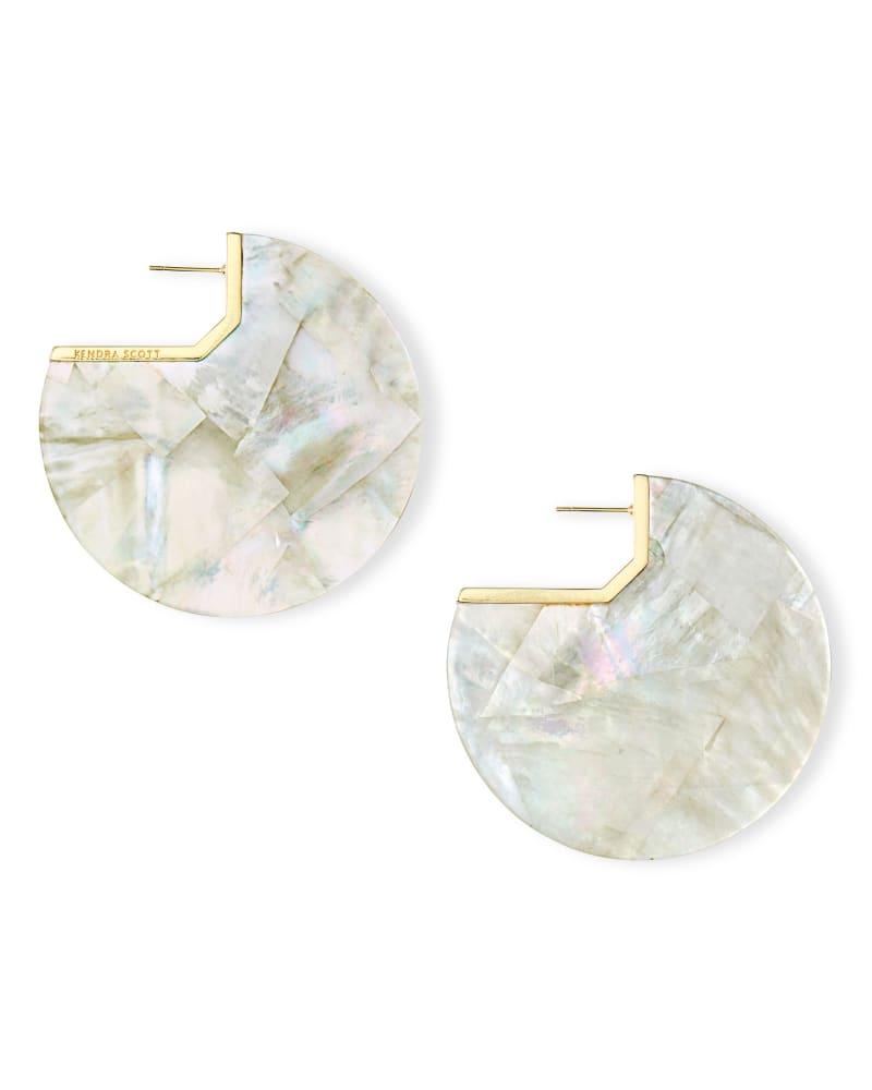Kai Gold Hoop Earrings in Ivory Pearl