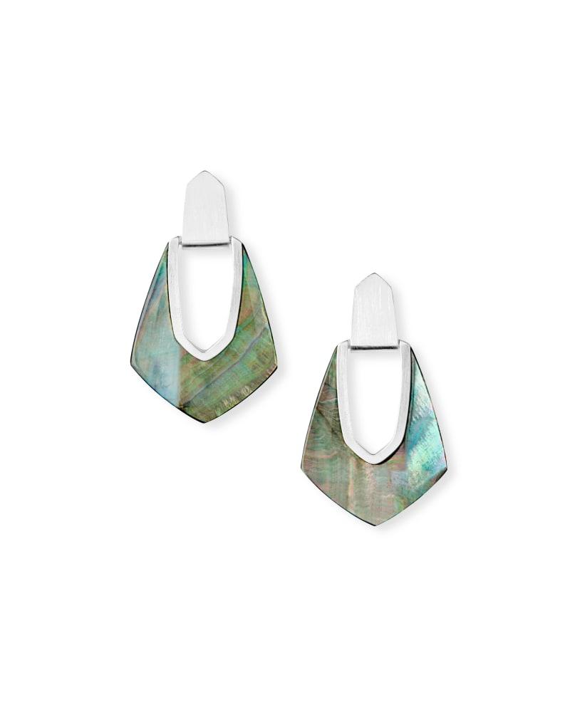 Kensley Bright Silver Drop Earrings in Black Pearl