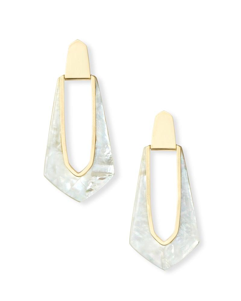 Kiernan Gold Statement Earrings in Ivory Pearl