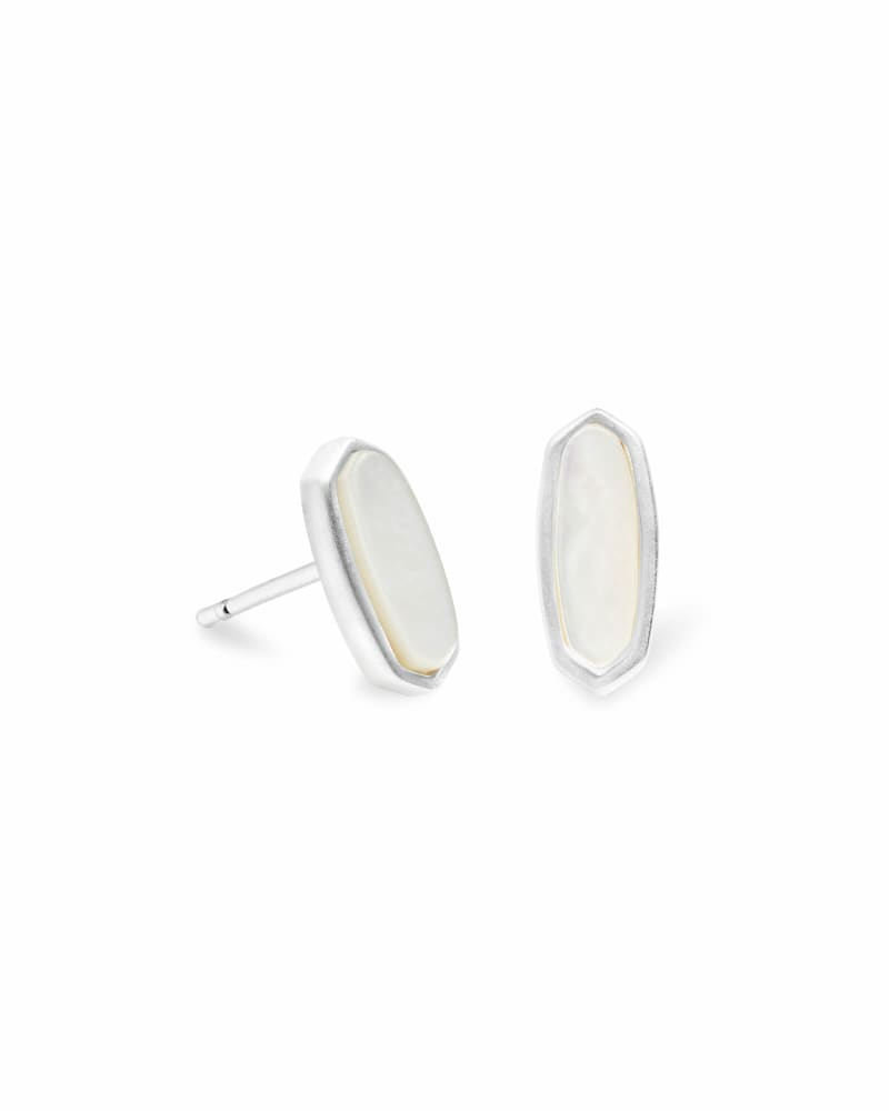 Mae Stud Earrings in Bright Silver