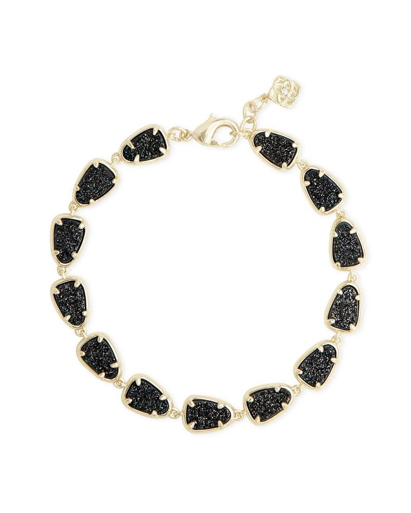 Susanna Gold Link Bracelet in Black Drusy
