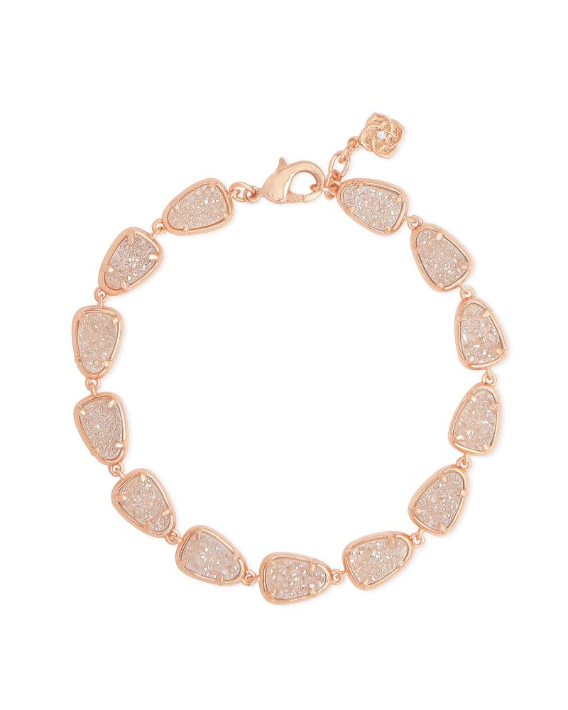 Susanna Rose Gold Link Bracelet in Sand Drusy