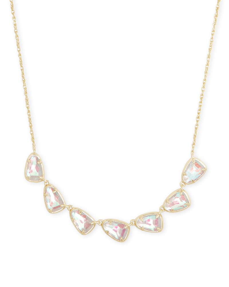 Susanna Gold Collar Necklace in Dichroic Glass