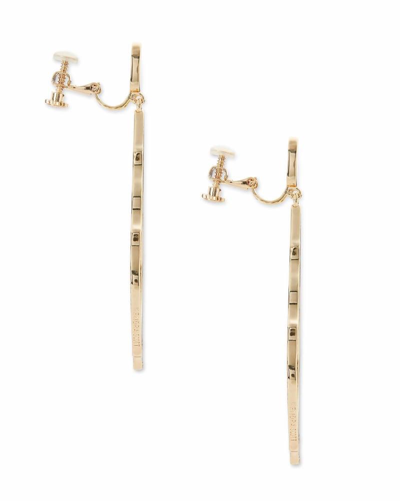 Sophee Clip On Drop Earrings in Gold