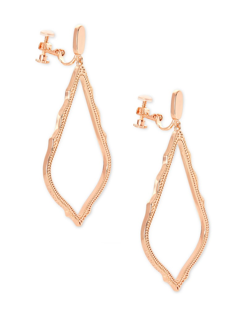 Sophee Clip On Drop Earrings in Rose Gold