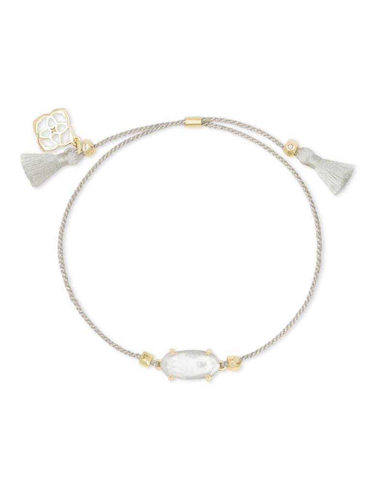 Everlyne Silver Cord Friendship Bracelet in Ivory Mother-of-Pearl