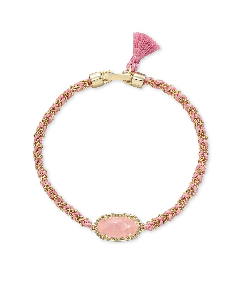 Elaina Gold Friendship Bracelet in Rose Quartz