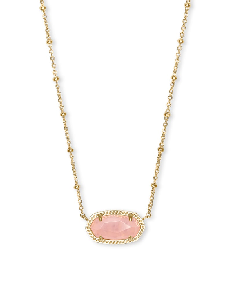 Elisa Gold Satellite Pendant Necklace in Rose Quartz