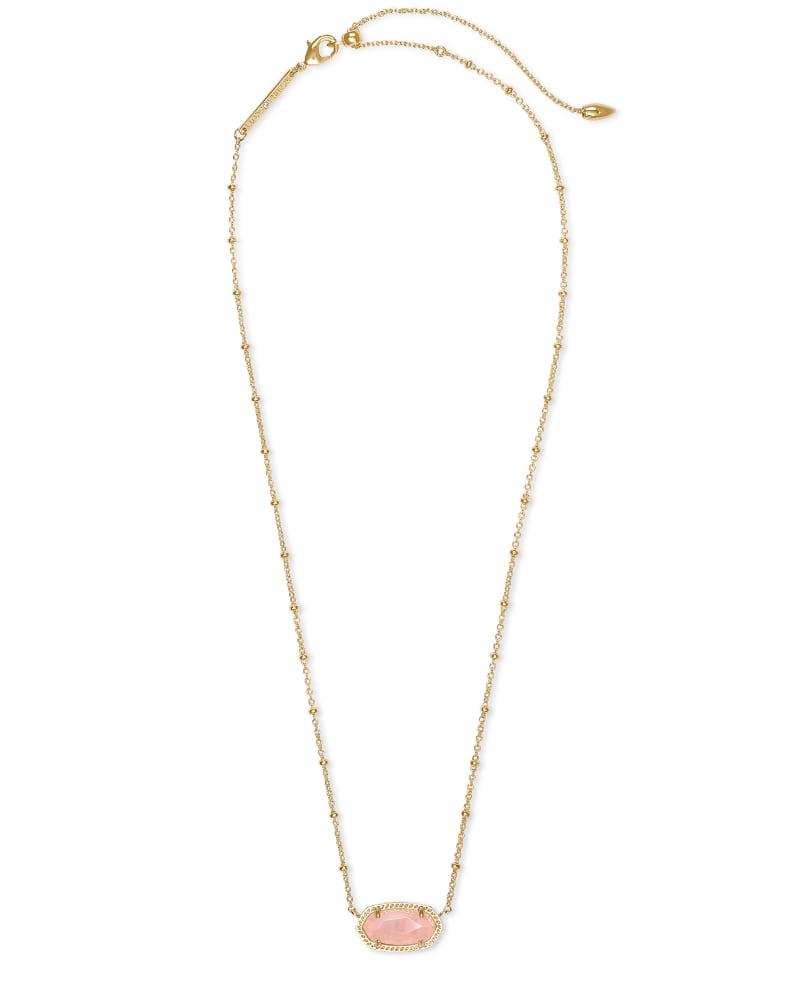 Elisa Gold Satellite Pendant Necklace in Rose Quartz