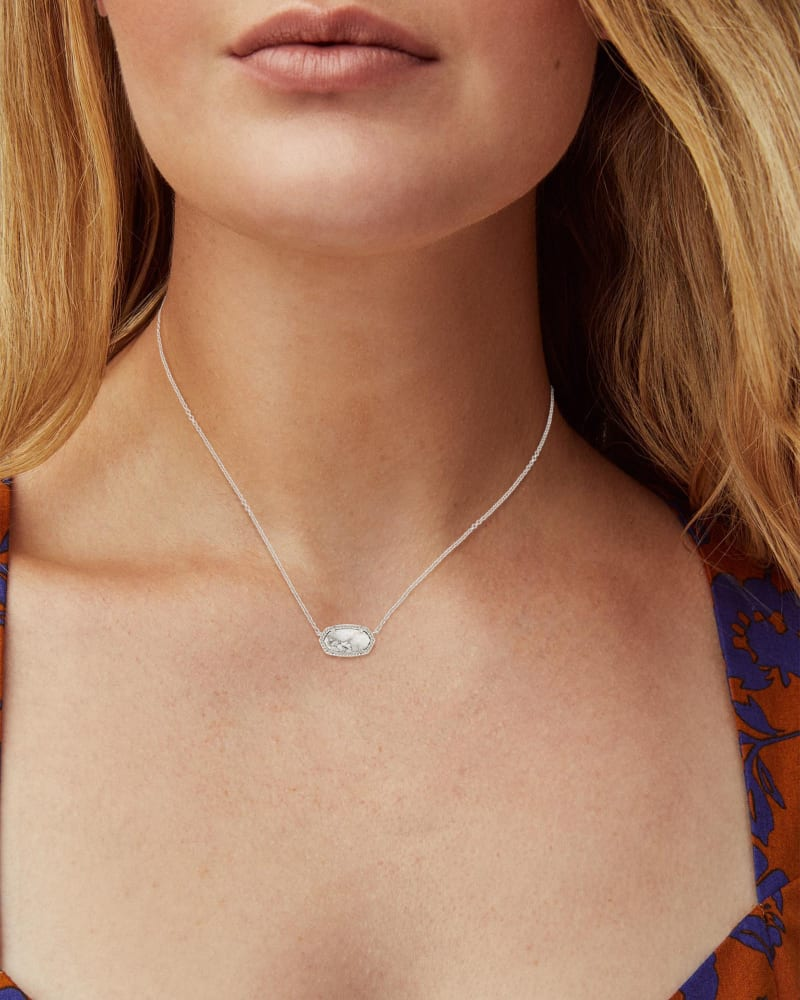 Elisa Silver Pendant Necklace in White Howlite