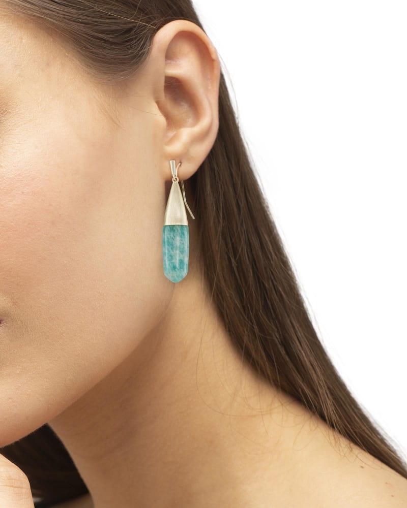 Freida Gold Drop Earrings in Dark Teal Amazonite