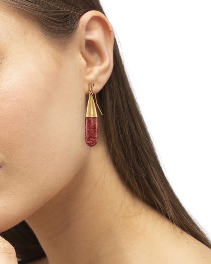 Freida Vintage Gold Drop Earrings in Burnt Sienna Howlite