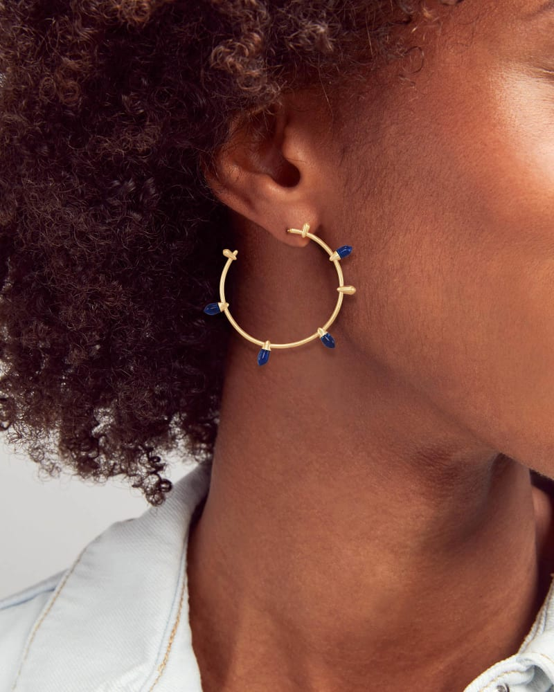 Freida Gold Hoop Earrings in Cobalt Howlite