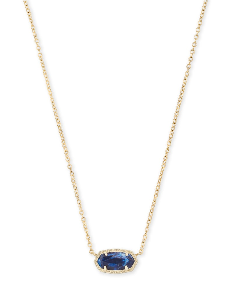 Elisa Gold Pendant Necklace in Cobalt Howlite