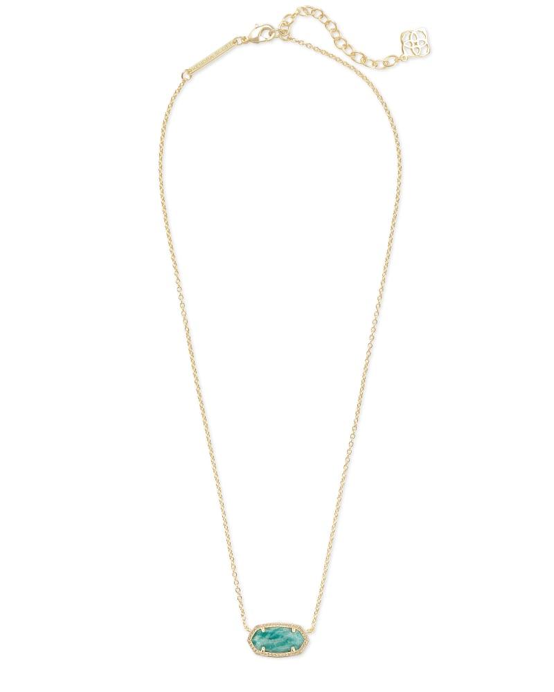 Elisa Gold Pendant Necklace in Dark Teal Amazonite
