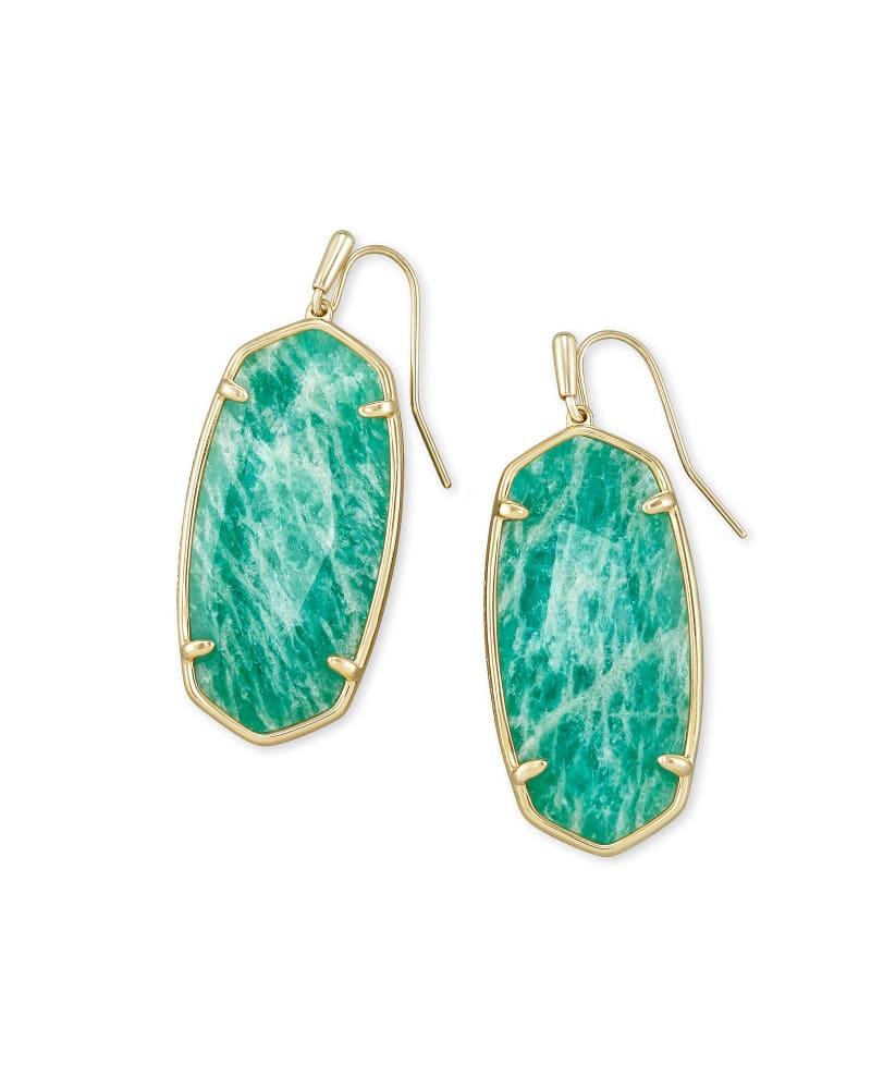 Faceted Elle Gold Drop Earrings in Dark Teal Amazonite
