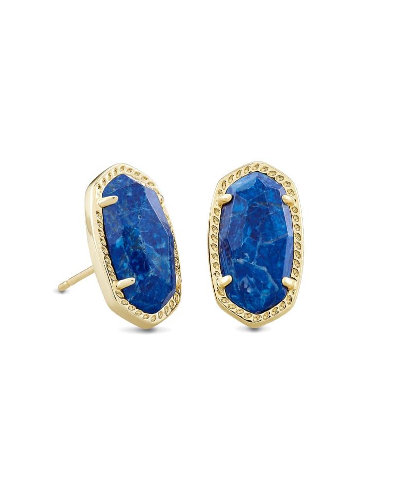 Ellie Gold Stud Earrings in Cobalt Howlite