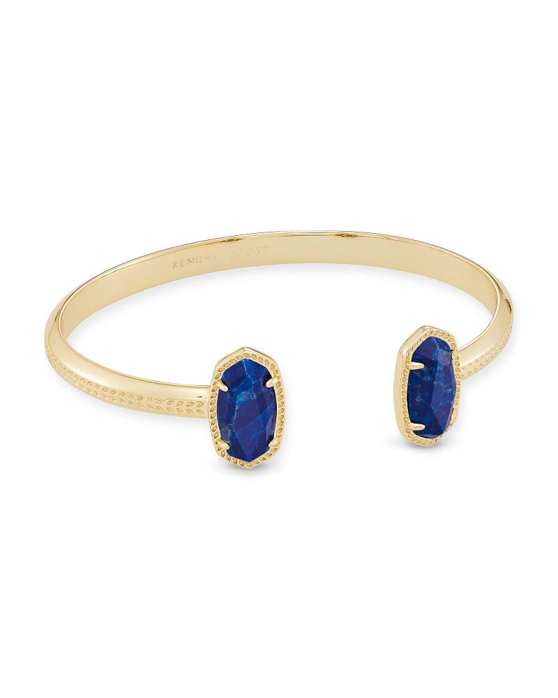 Elton Gold Cuff Bracelet in Cobalt Howlite