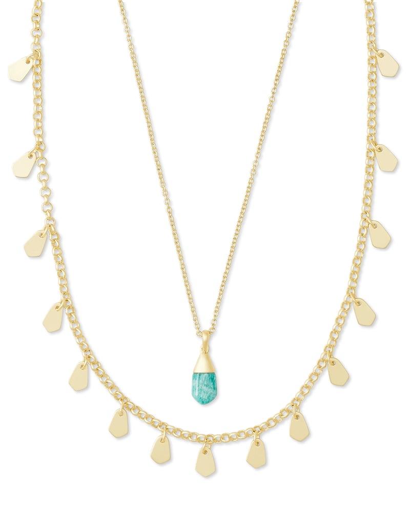 Freida Gold Multi Strand Necklace in Dark Teal Amazonite   Kendra Scott