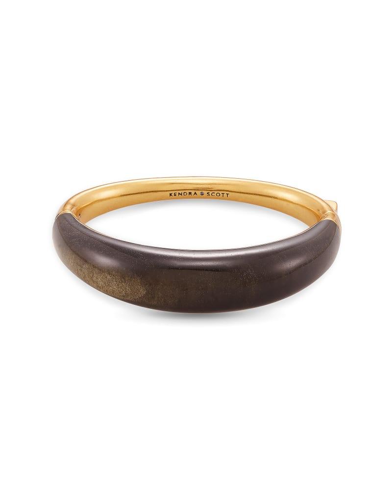 Kaia Vintage Gold Bangle Bracelet in Golden Obsidian