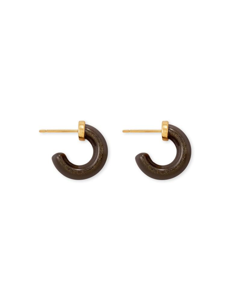 Mikki Vintage Gold Huggie Earrings in Golden Obsidian