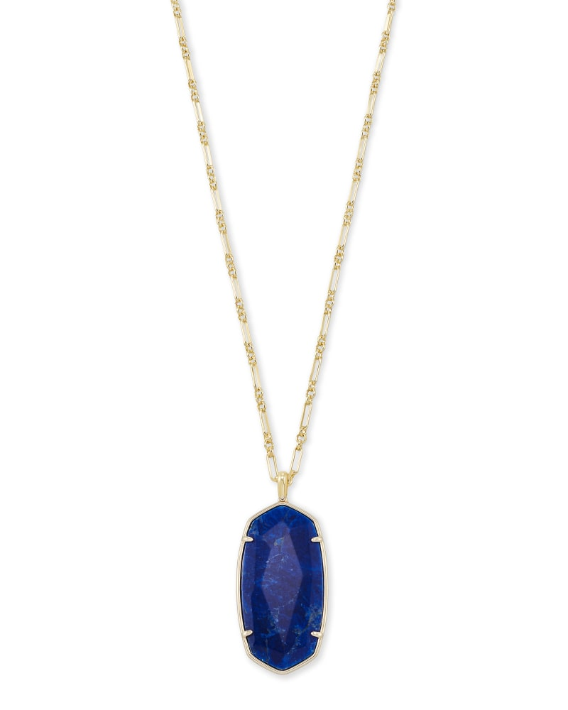 Faceted Reid Gold Long Pendant Necklace in Cobalt Howlite