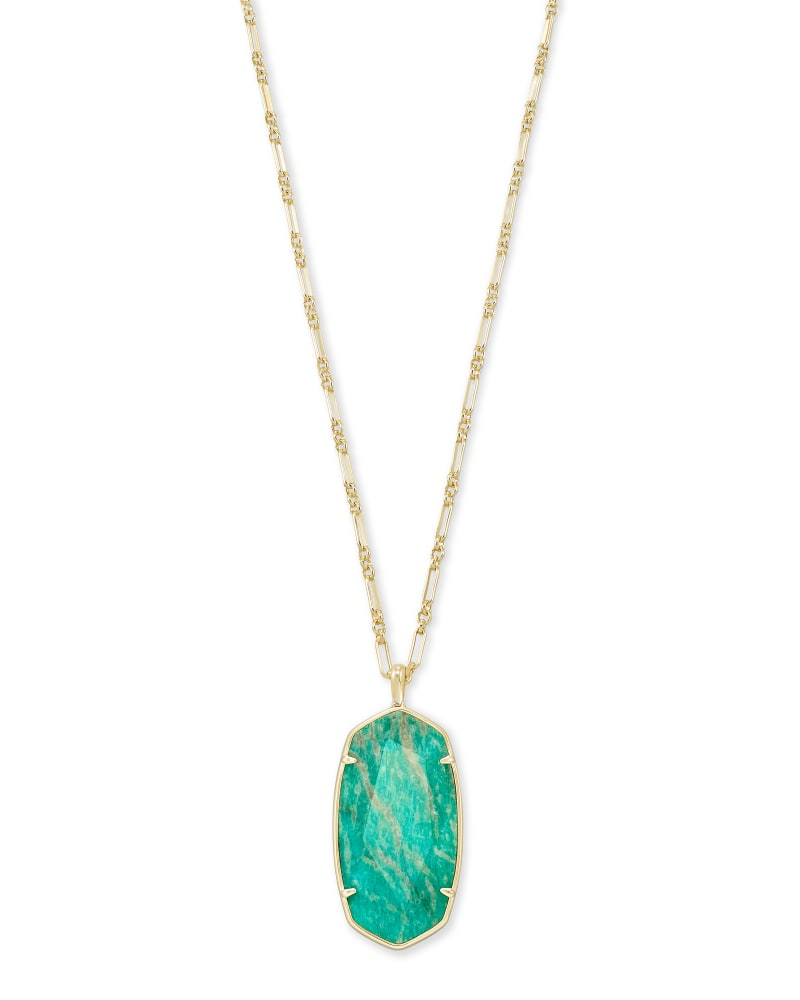 Faceted Reid Gold Long Pendant Necklace in Dark Teal Amazonite