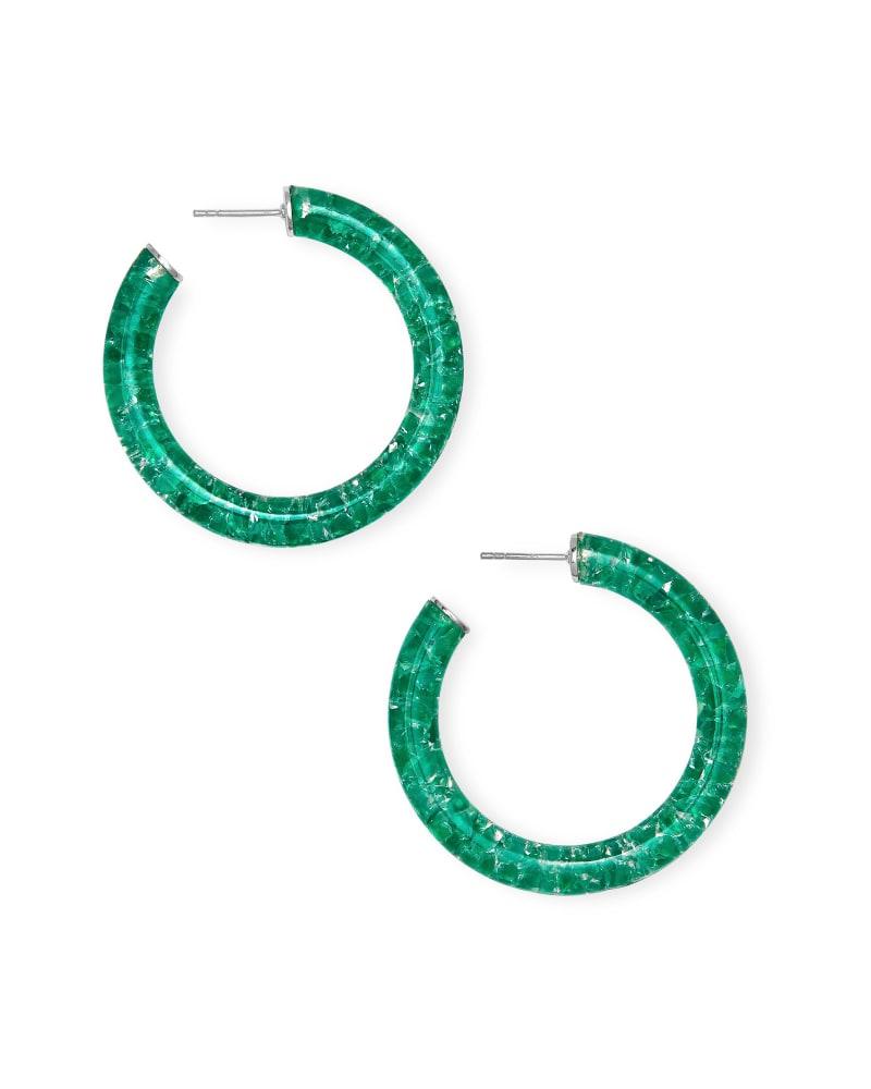 Sonnie Sterling Silver Hoop Earrings in Green Onyx