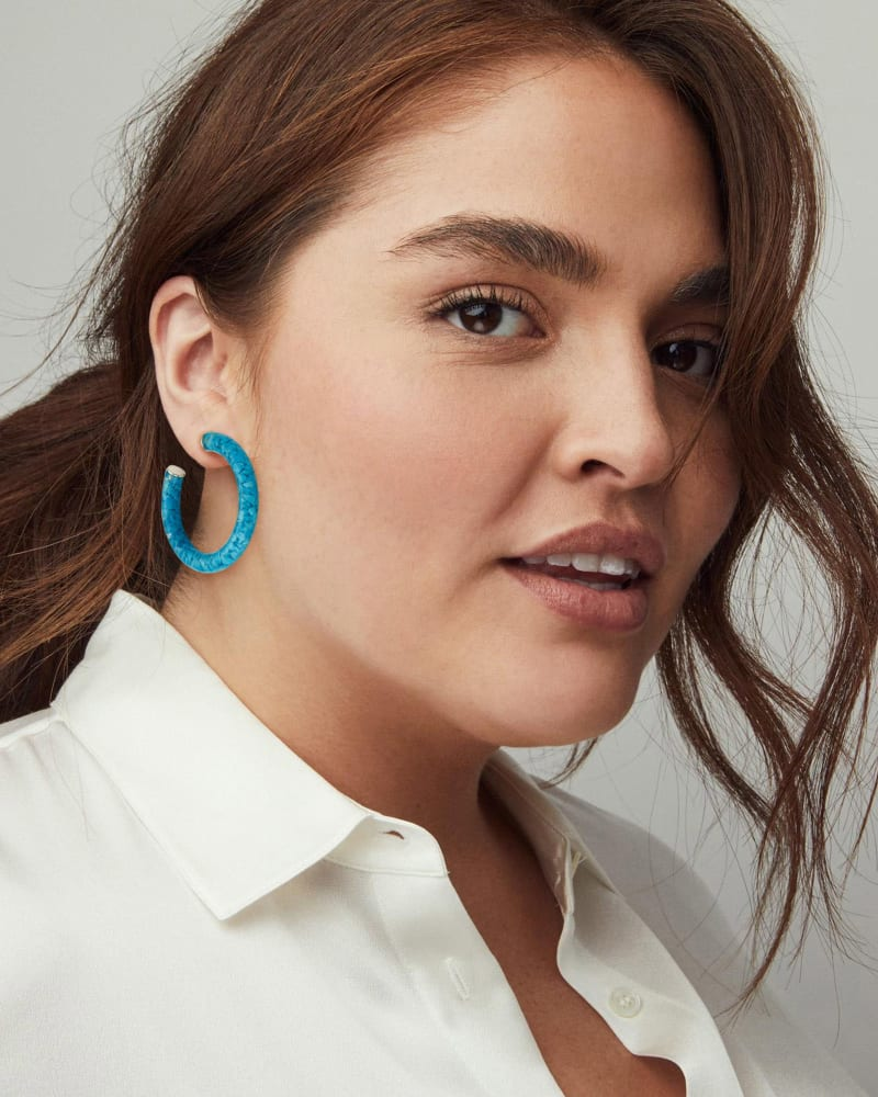 Sonnie Sterling Silver Hoop Earrings in Turquoise Magnesite