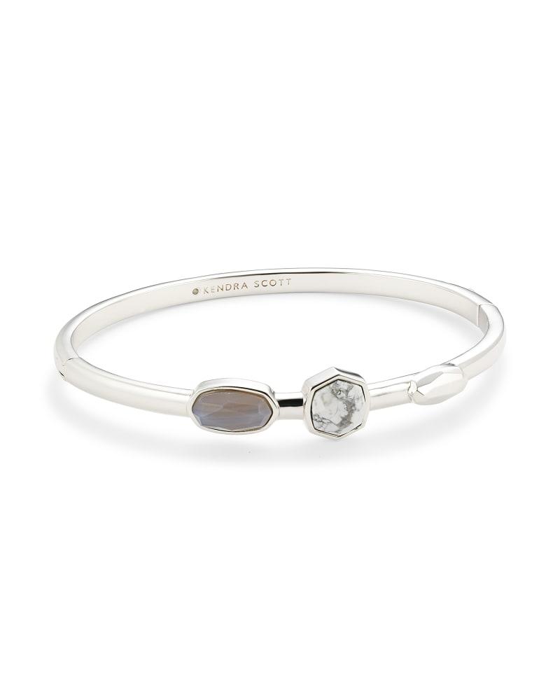 Davie Silver Bangle Bracelet in White Mix