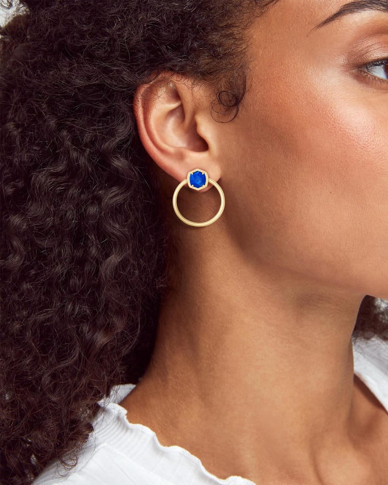 Davie Gold Hoop Earrings in Cobalt Howlite