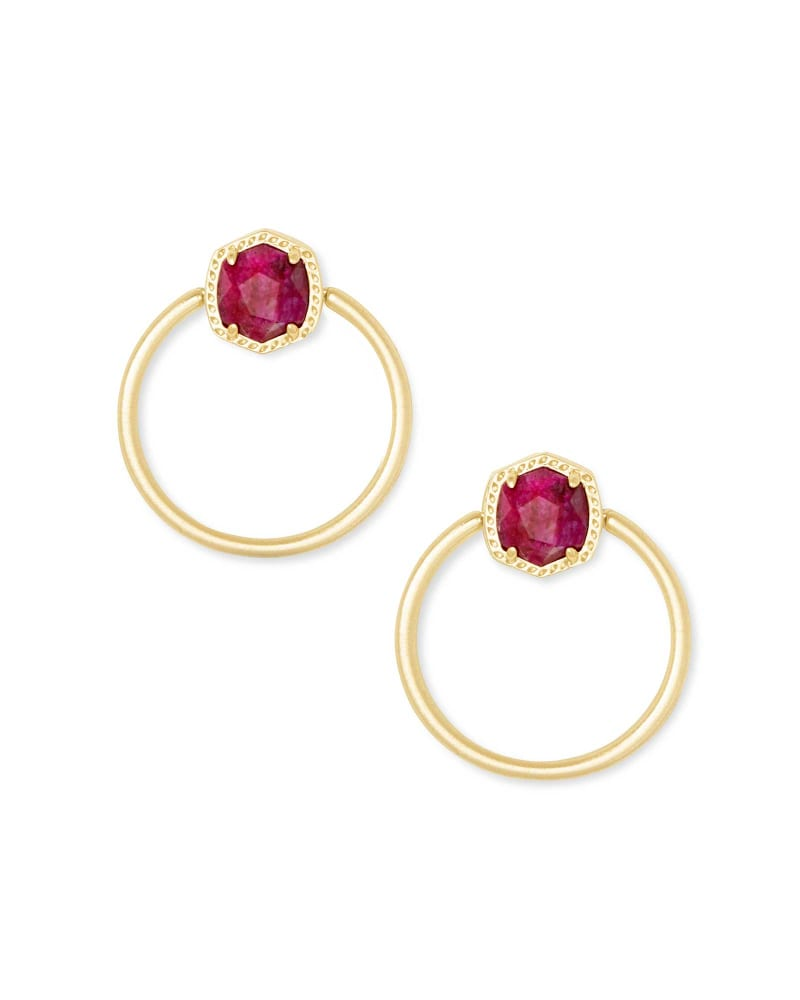 Davie Gold Hoop Earrings in Raspberry Labradorite