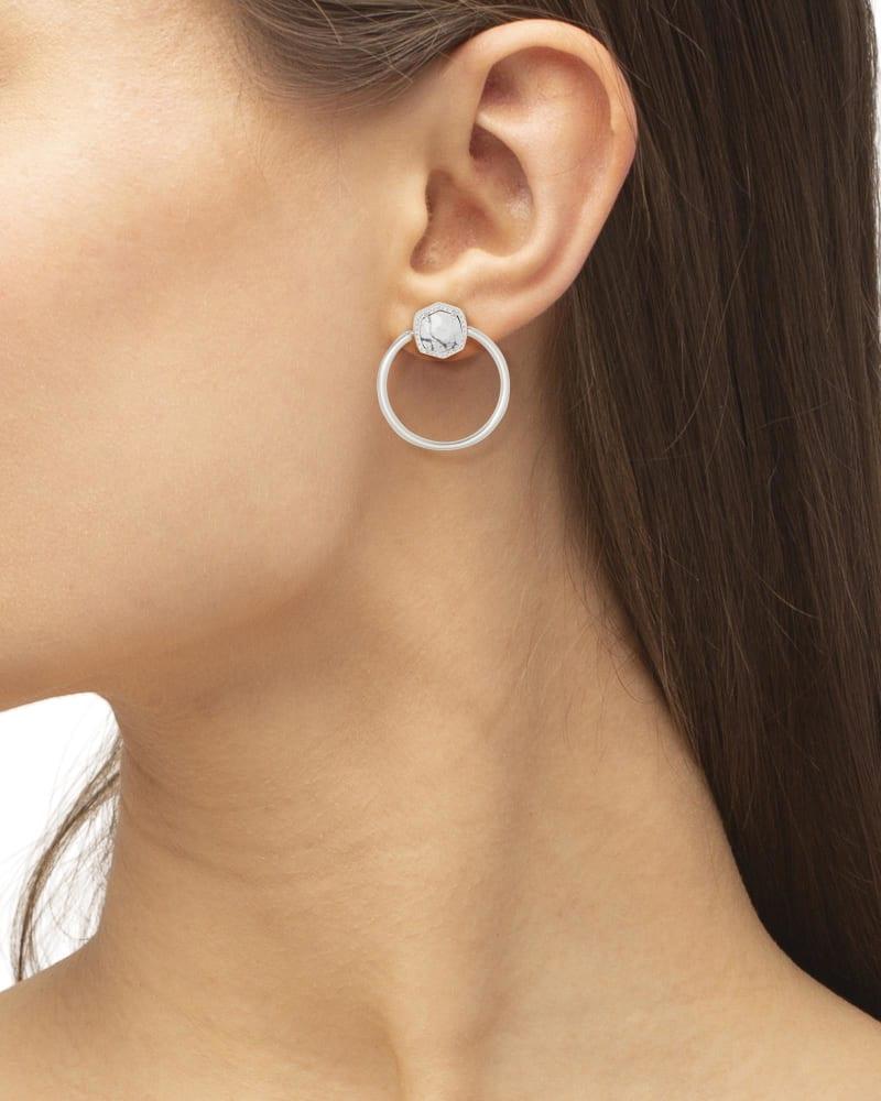 Davie Silver Hoop Earrings in White Howlite
