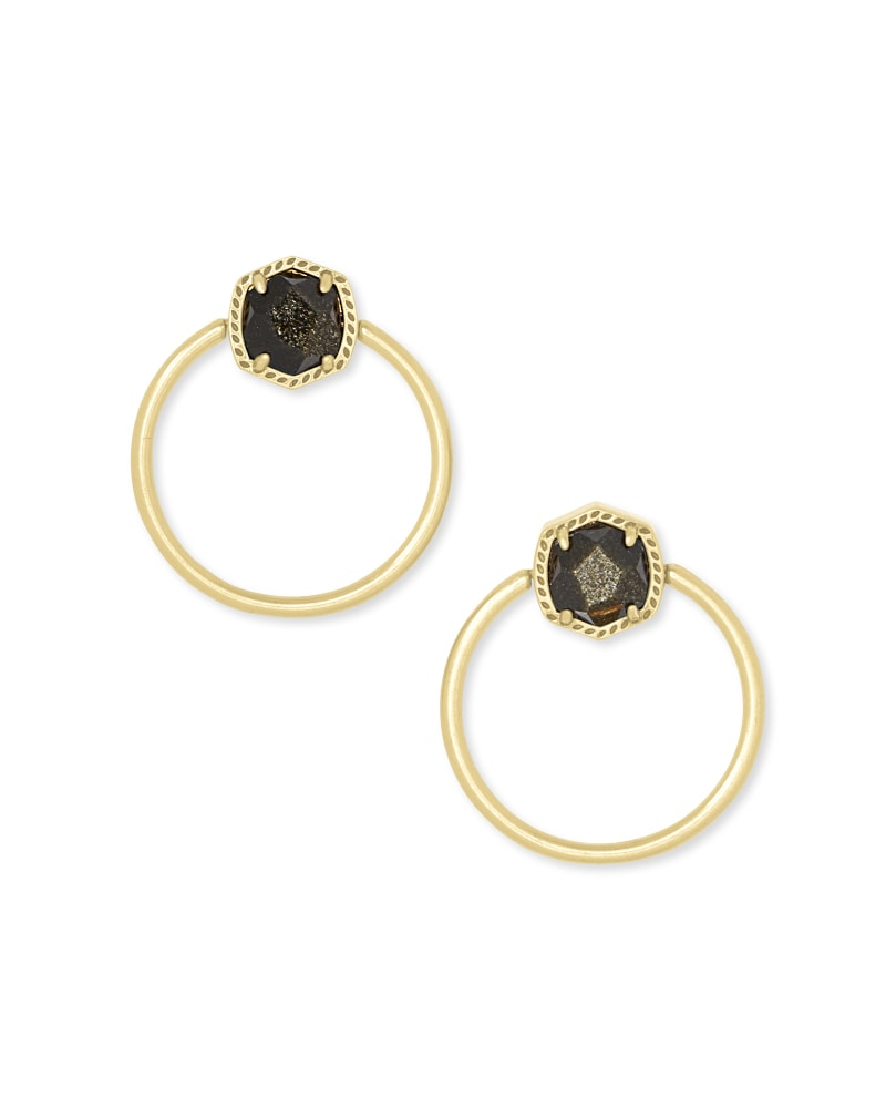 Davie Vintage Gold Hoop Earrings in Golden Obsidian