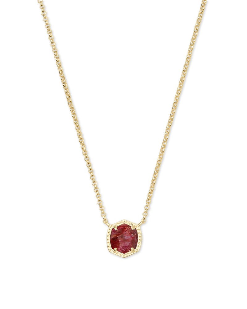 Davie Gold Pendant Necklace in Raspberry Labradorite