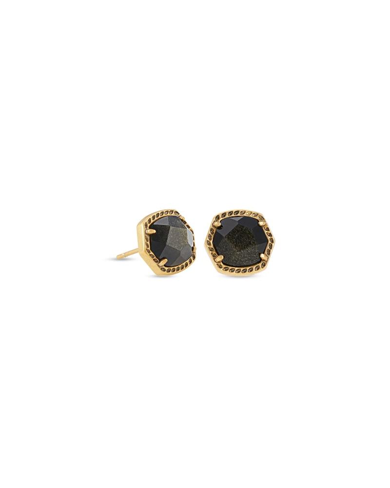 Davie Vintage Gold Stud Earrings in Golden Obsidian