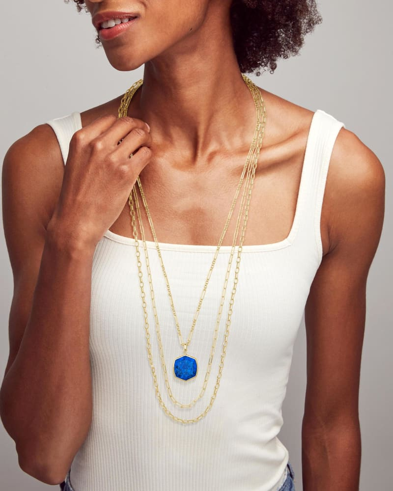 Davis Gold Multi Strand Necklace in Cobalt Howlite