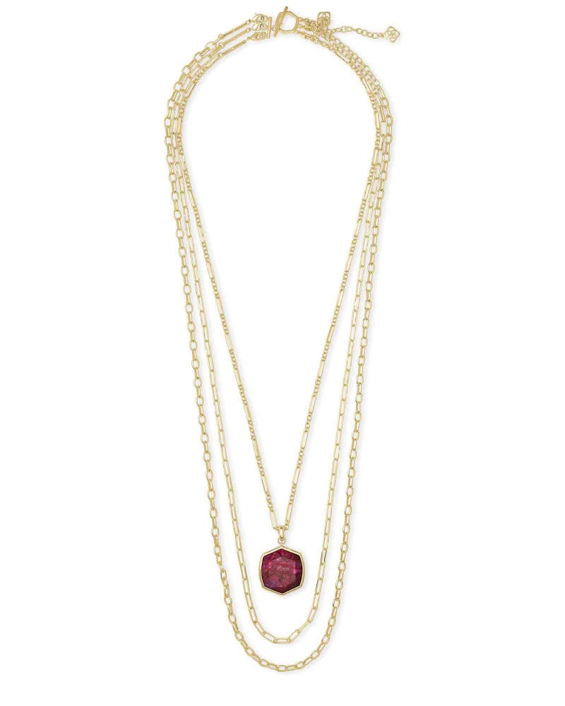 Davis Gold Multi Strand Necklace in Raspberry Labradorite