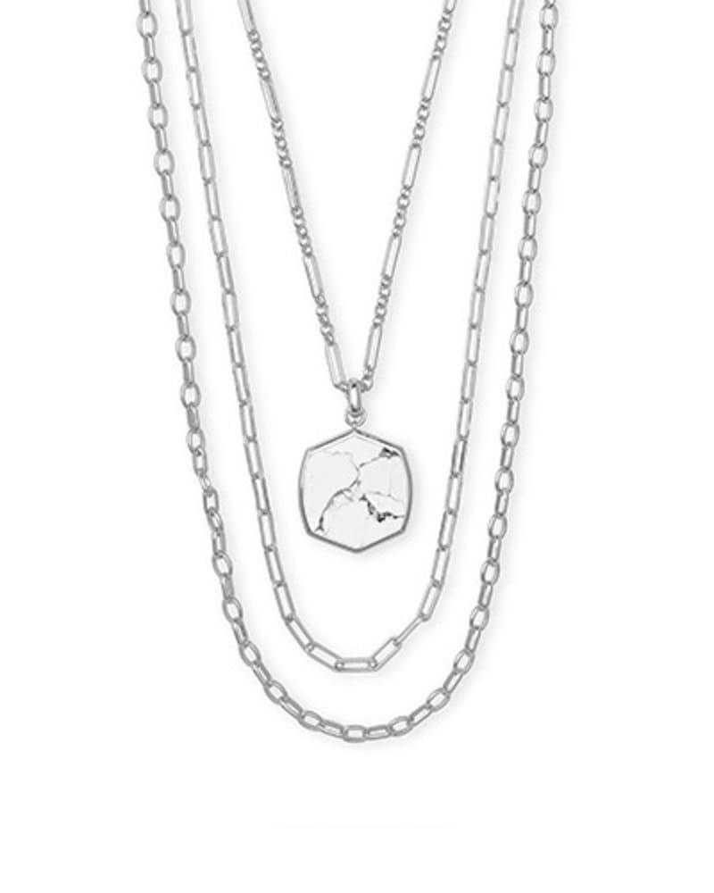 Davis Silver Multi Strand Necklace in White Howlite