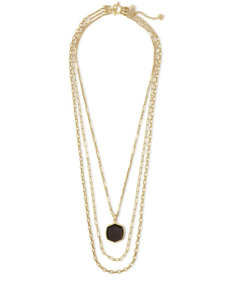 Davis Vintage Gold Multi Strand Necklace in Golden Obsidian